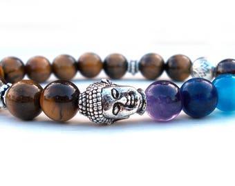 Reiki Buddha Lotus bracelet, Chakra bracelet, Buddha bracelet, Tiger Eye bracelet, Lotus flower bracelet, Yoga bracelet, Meditation bracelet