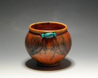 Horsehair Raku/Burnt Orange/Handmade/Ceramic/Bowl/Smudgepot