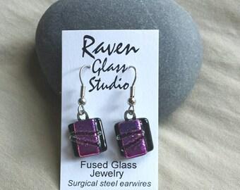 Fuchsia Colored dichroic glass earrings, glass jewelry, Art glass earrings, Dangle earrings, Kiln fired glass earrings,  EA262