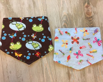 Set of 2 Drool Bibs, Baby Bandana Bib Set