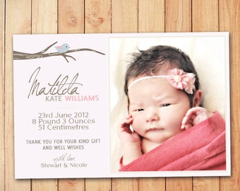 Bird on Branch Announcement Card Pink - Baby Thank You Card