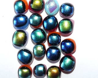 19 small glass cabochons colorful iridescent dichroic style beetle shining for creations of jewels crimp