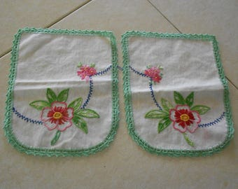 Set of 2 Embroidered Doilies/Arm Chair Covers/White w/Green and Pink