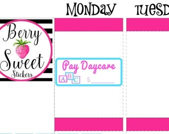 Pay Daycare Planner Stickers, Daycare Payment Planner Stickers, fit for Erin Condren Life Planner, Happy Planner, Daycare Planner Stickers