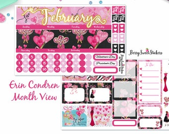 February Monthly kit, Valentines Day, Fit Erin Condren Life Planner, Happy Planner, Recollections Planner, Monthly Layout, Month Stickers