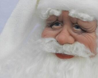 """Santa Doll, """"White as Snow"""" Hand sculpted"""