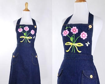 Vintage 1970s Dress | 70s Landlubber Denim Overall Dress | Floral Embroidery | medium M