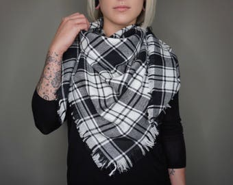Ready To Ship - Plaid Flannel Blanket Scarf | Charlie & Luna Co., Soft, Warm, Statement Piece, Black and White