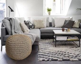 Modern Crochet Ottoman Poufs Bean Bags Rugs Baskets by LoopingHome