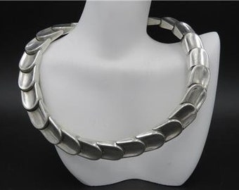 Vintage Alicia Taxco Mexico 970 Sterling Silver Heavy Articulated Choker Necklace