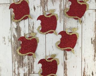 12 pcs Descendants 2 Movie - Glitter Die Cut/Party Decorations/Embellishment/Table Scatter/Cupcake Topper - Apple Symbol