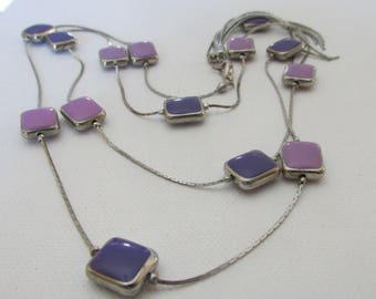 Vintage Necklace, Purple Necklace, Mauve Necklace, Silver Tone Metal, Collectible Jewelry