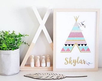 Nursery decor, nursery wall art, girls bedroom decor, Boho Nursery, teepee print, personalised print, tribal nursery print, kids decor