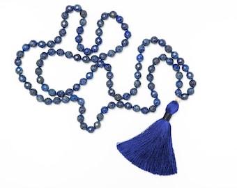 Confidence Mala, 108 Gemstone Mala Beads, Lapis Lazuli Mala Necklace, Tassel necklace, Yoga Jewelry