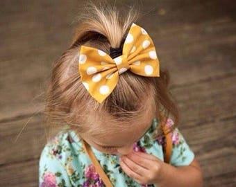 Mustard Dot Bow | Fall Bow | Mustard Bow | Back to School Bow | Fabric Hair Clip or Headband Bows