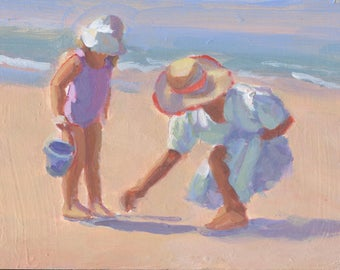 Mama and Me 3.   6 x 8 original painting,  Mother and child at play on the beach, beach scene, figurative, Lucelle Raad Art