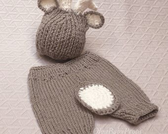 Newborn deer outfit knit deer set, newborn boy photo outfit, deer hat and pants Knit pants and hat