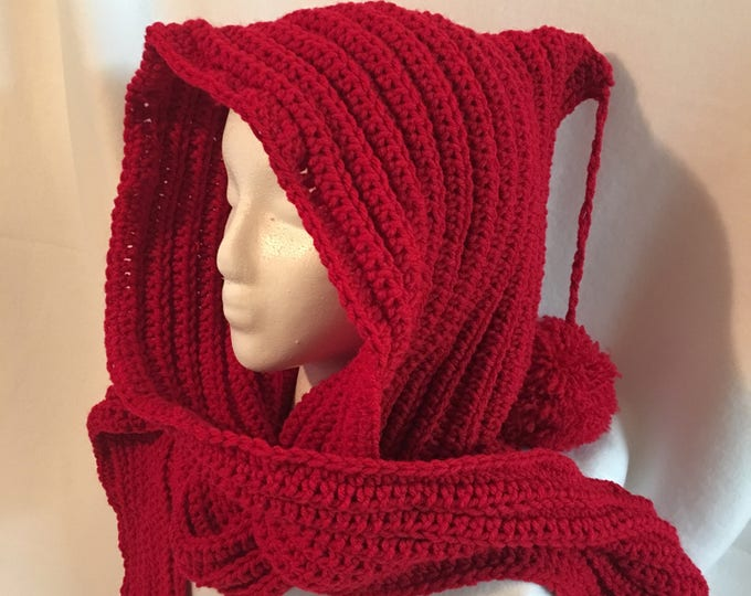 Crocheted Hooded Scarf-Hoodies-Women's Scarves-Winter Wraps-Christmas Gifts-