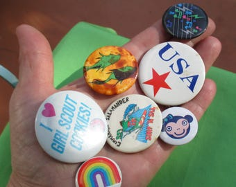 Lot Of Retro Assorted Pin Back Buttons