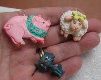 Lot Of Retro Salvaged Pendants Pig Lamb Cat