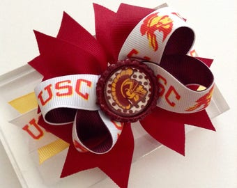 USC Trojans Hair Bow, USC hair bow, trojans hair Bow, Girl Headband