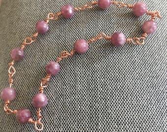 Pink Lepidolite and Copper Bracelet