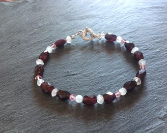 Garnet bracelet/rose quartz/moonstone/Swarovski crystal/gemstone bracelet/Sterling silver/January birthstone/gift for her