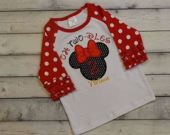 Minnie Mouse birthday shirt Oh Twoodles 2nd birthday Girls Oh Two dles girls birthday clothing Toddler girl Disney Birthday top Ruffle shirt