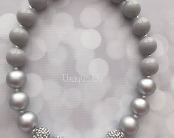 Ombre silver and gray chunky beaded necklace, ready to ship! Statement necklace, slver rhinestones, silver pearls, women's necklace