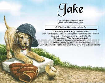Puppy Name Meaning Origin Print Name Personalized Certificate 8.5 x 11 Inches Customized With Any Name