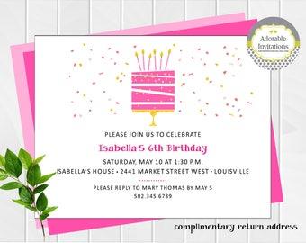 Girl Birthday Invitation | Cake with candles invitation | Faux Glitter| Birthday Party Invitation | Pink Cake | Confetti | Printable