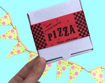Mini Pizza Garland Neon Screen Printed