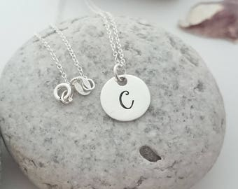 Sterling Silver Initial Necklace - Monogram Disc Pendant - Custom Silver Name Jewellery - Bridesmaid Gift - Best Friend Gift - Flower Girl