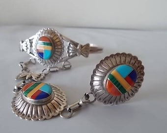 Southwestern~Zuni Style~SLAVE  BRACELET~Sterling Silver~Multi Gemstones~Cuff~Ring and Pendant~Set~Very Pretty~ring Sz. 6~Fine 925