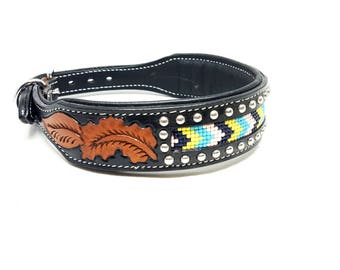 "1 Of 1 Prototype Western Style Glass Beaded Tooled Handmade Canine Black Leather Dog Collar 2"" Wide"