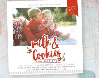 ON SALE Christmas Photography Marketing - Milk and Cookies - Photoshop template - IC040 - Instant Download