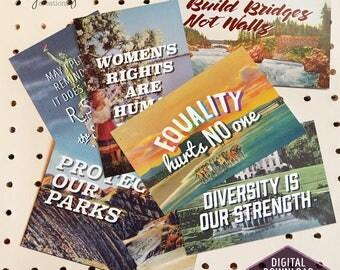 Vintage Style 'Write-In' Postcards - Digital Download