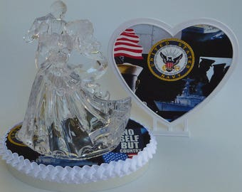 Wedding Cake Topper U.S. Navy Themed Military Enlisted Clear Couple Dancing Bride Groom Pretty Heart Backdrop w/Bridal Garter Reception Gift
