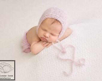 Newborn Photography Hat, Newborn Fuzzy Hat, Baby Girl Photo Bonnet, Photo Prop Hat, Baby Girl Photo Prop Bonnet