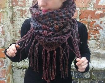 Crochet scarf. Fringed scarf , triangle scarf , Crochet cowl . Brown scarf . Festival scarf. Crochet snood.