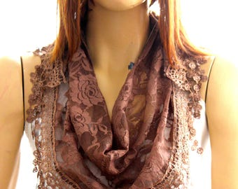 brown lace scarf. Summer scarf. Scarf. Scarves. Lace scarf. Women scarf - brown scarves - brown headband - brown lace headband - brown scarf