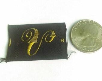 Vintage Antique Monogram Initial Sewing Patch Gold Black Letter V Font Per 1 Deadstock