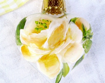 Yellow Rose Heart Ornament ~ February Birthday ~ Shabby Rose Ornament ~ Handpainted Roses ~ Sweetheart Gift