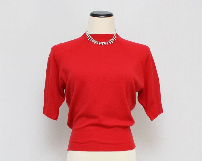 Vintage 1950s Dalkeith Lipstick Red Bombshell Sweater - Size Extra Small