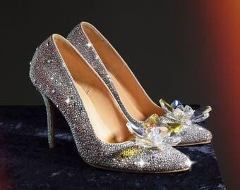 Fairy Tale Wedding Shoes, Cinderella's Wedding Shoes, Bridal Heels, Cinderella Glass Slippers, Bridal Shoes, Custom Made Swarovski Heels