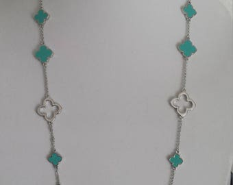"Silver Clover Long Necklaces,36"" Long, Turquoise clover,Open Clover gift for her,Valentine's/Mother's day gift,four leaf clover,"