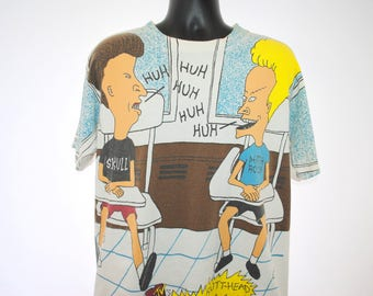 1993 Beavis and Butt-Head Huh Huh Huh Vintage Stanley DeSantis Brand Classic 90s Mike Judge MTV Cartoon TV Show All Over Print Promo T-Shirt