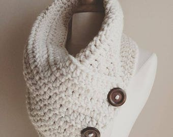 Crochet button cowl-cream crochet scarf-neutral scarf-button scarf-cream scarf-winter scarf-white button cowl- modern knits