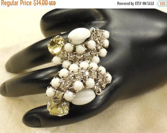 ON SALE Vintage Milk Glass, Clear and Citrine Coloured Rhinestone Earrings
