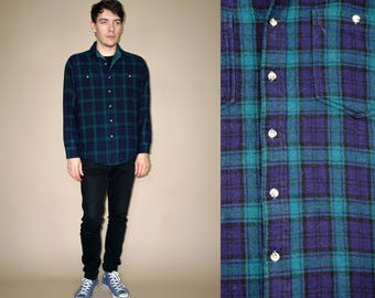 90's vintage green-blue checked lumberjack shirt jacket